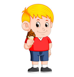 Kid eating chocolate ice cream in waffles cone vector