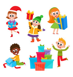 Kids children getting christmas birthday presents vector