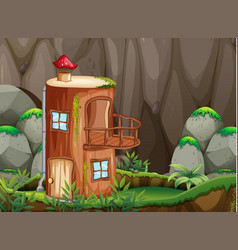 Log house in nature vector