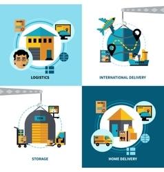 Logistics 2x2 Design Concept Set vector
