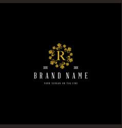 Logo design flower rose luxury black gold vector