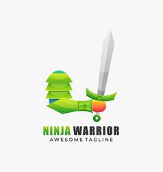 Logo ninja warrior gradient colorful style vector
