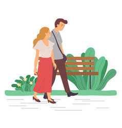 Man and woman on date walking in park together vector