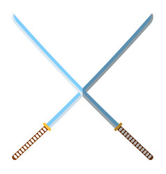 medieval katana icon and label flat style logo vector image