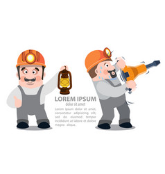 miners with a jackhammer and a kerosene lamp vector image