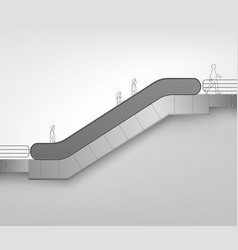 Modern escalator on white background vector