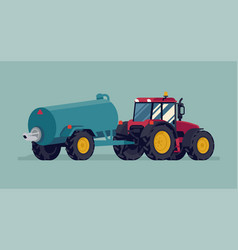 Modern four wheel drive tractor with slurry tank vector