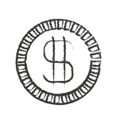 Monochrome blurred silhouette of coin with money vector