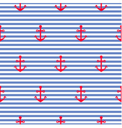 Nautical seamless pattern with anchors vector