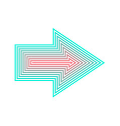 Neon arrow isolated from red to turqoise vector