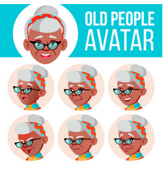 old woman avatar set black afro american vector image