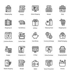 Online shopping line pack vector