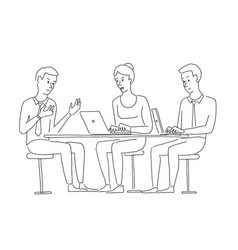 people at the table interviewing recruitment work vector image