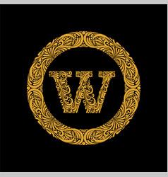 Premium elegant capital letter w in a round frame vector