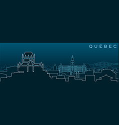Quebec multiple lines skyline and landmarks vector
