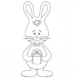 rabbit with a gift contour vector image