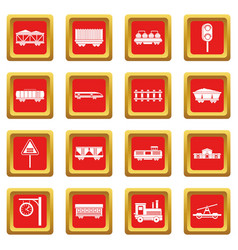 Railway icons set red vector