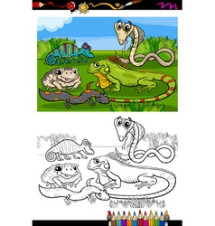 reptiles and amphibians coloring book vector image