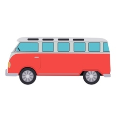 Retro Travel Red Van vector