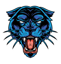 Scary angry black panther head vector