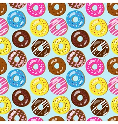 seamless pattern assorted doughnuts vector image