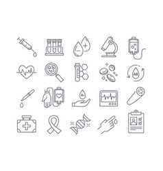 Set black and white blood and medical icons vector
