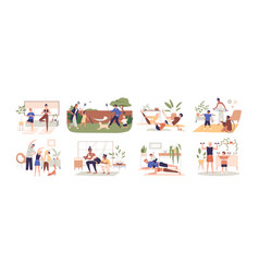set healthy families doing sport exercises at vector image