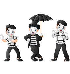 set of mimes performing different pantomimes vector image
