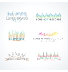 Set of music wave logo elements vector