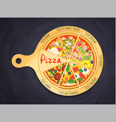 Set of pieces of pizza on cutting board 8 item vector
