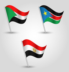 set of waving flags states of african nile valley vector image