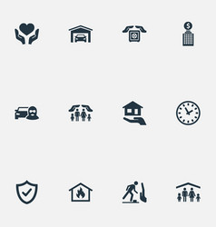Set simple safeguard icons vector