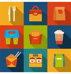 Set with fast food icons Take away Packaging vector image