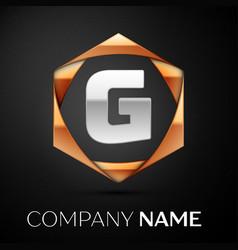 silver letter g logo symbol in golden hexagonal vector image
