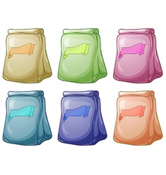 Six pouch bags collection vector