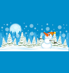 Snowman on christmas trees background vector