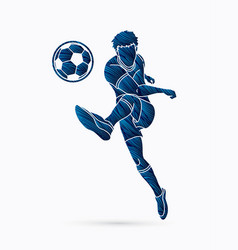 soccer player running and kicking a ball vector image