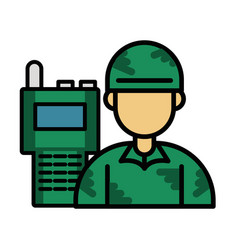 Soldier military force with radio communicator vector
