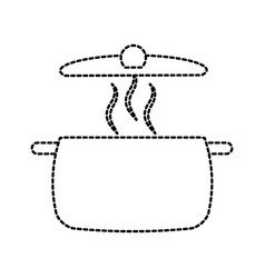 soup pan cap equipment cooking icon vector image