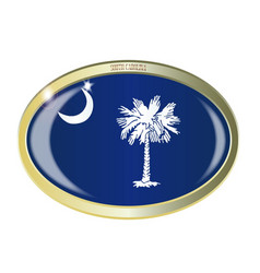 South carolina state flag oval button vector
