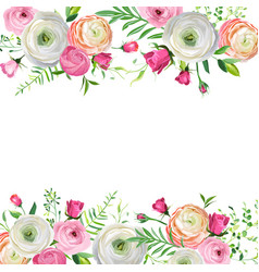 Spring and summer floral frame for decoration vector