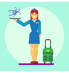 Stewardess icon flat vector