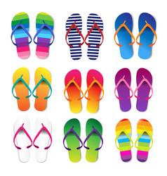 summer colorful flip flops set white background vector image