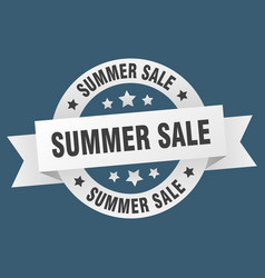 summer sale ribbon summer sale round white sign vector image