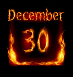 Thirtieth december in calendar of fire icon on vector
