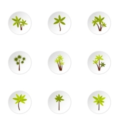 Tree palm icons set flat style vector
