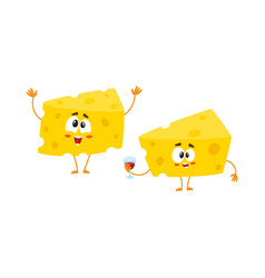 two funny cheese chunk characters holding wine vector image
