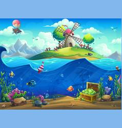 Undersea world with baloon on island vector