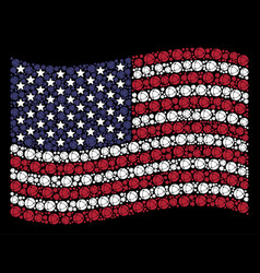 Waving usa flag stylized composition of internet vector
