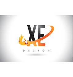 Xe x e letter logo with fire flames design and vector